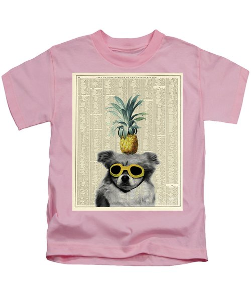 Dog With Goggles And Pineapple Kids T-Shirt