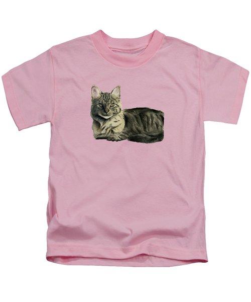 Domestic Medium Hair Cat Watercolor Painting Kids T-Shirt
