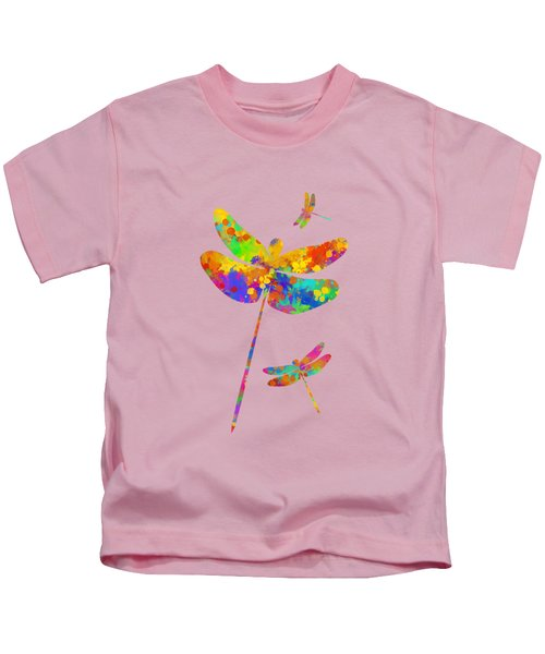 Kids T-Shirt featuring the mixed media Dragonfly Watercolor Art by Christina Rollo