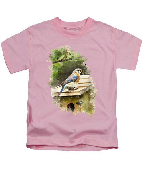 Eastern Bluebird Watercolor Art Kids T-Shirt