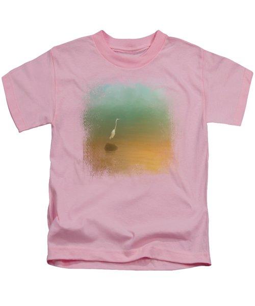 Egret At Sea Kids T-Shirt by Jai Johnson