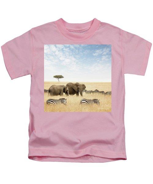 Elephants And Zebras In The Masai Mara Kids T-Shirt