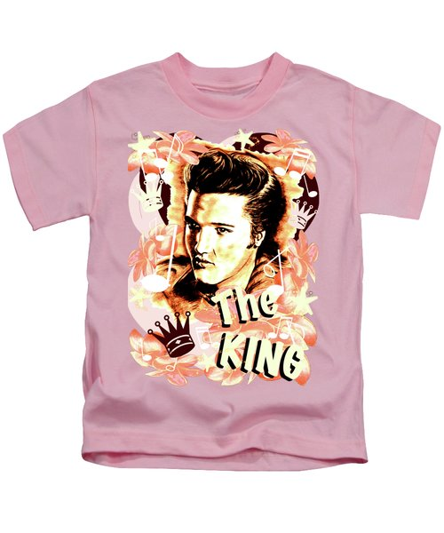 Elvis The King In Salmon Red Kids T-Shirt
