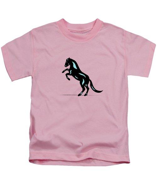 Emma - Pop Art Horse - Black, Island Paradise Blue, Pink Kids T-Shirt