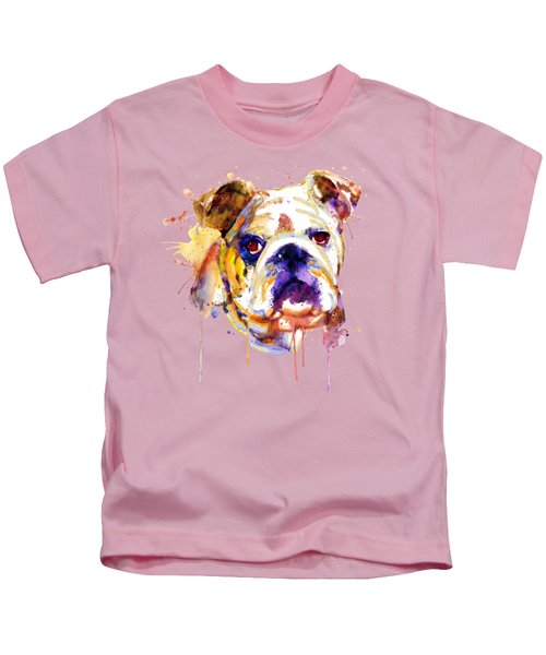 English Bulldog Head Kids T-Shirt by Marian Voicu