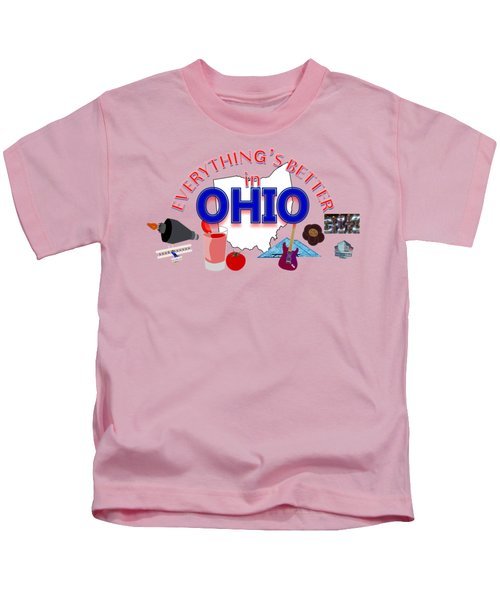 Everything's Better In Ohio Kids T-Shirt by Pharris Art