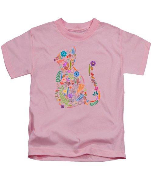 Fancy And Fine Flowered Cat Garden Design Kids T-Shirt