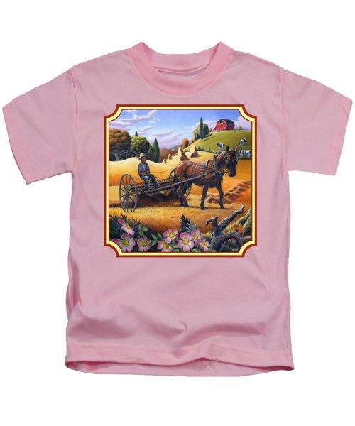 Farmer Raking The Hay Country Farm Life Landscape - Square Format Kids T-Shirt