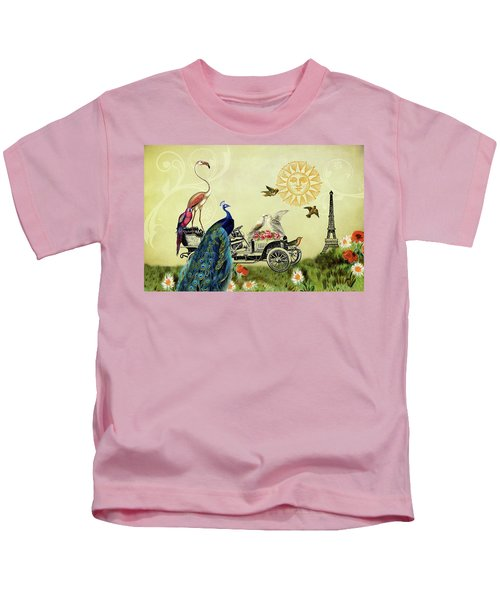Feathered Friends In Paris, France Kids T-Shirt
