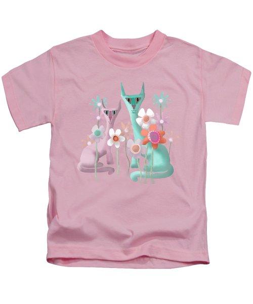 Felines In Flowers Kids T-Shirt