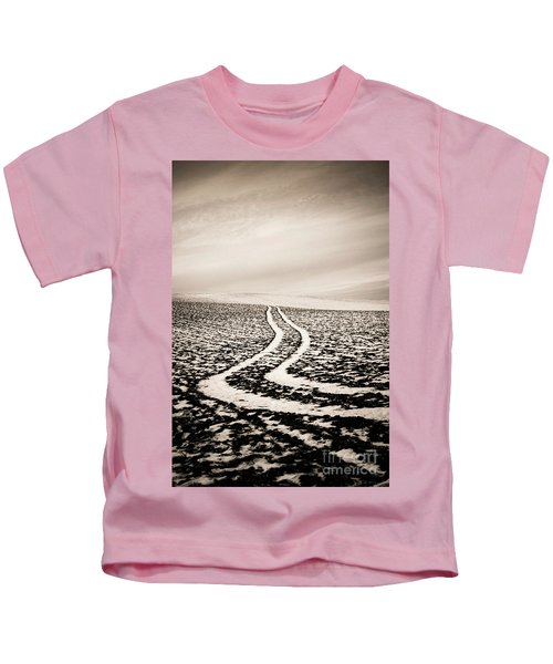 Field With Snow-covered Furrows. Auverge. France. Europe. Kids T-Shirt