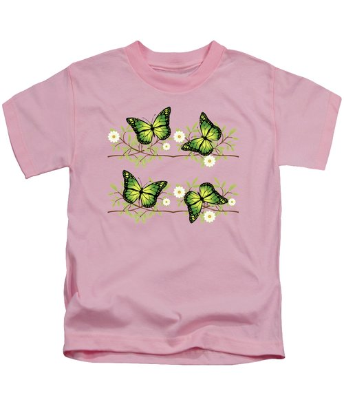 Four Green Butterflies Kids T-Shirt by Gaspar Avila