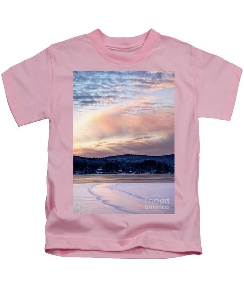 Frozen Lake Sunset In Wilton Maine  -78096-78097 Kids T-Shirt