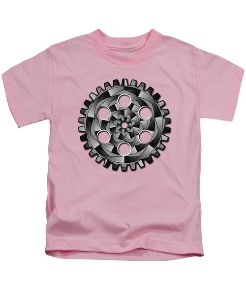 Gearwheel In Black And White Kids T-Shirt