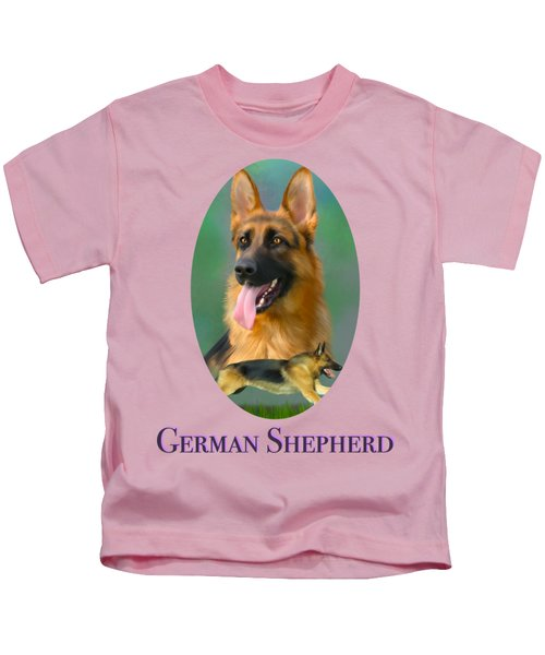German Shepherd With Name Logo Kids T-Shirt