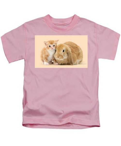 Ginger Kitten And Sandy Bunny Kids T-Shirt