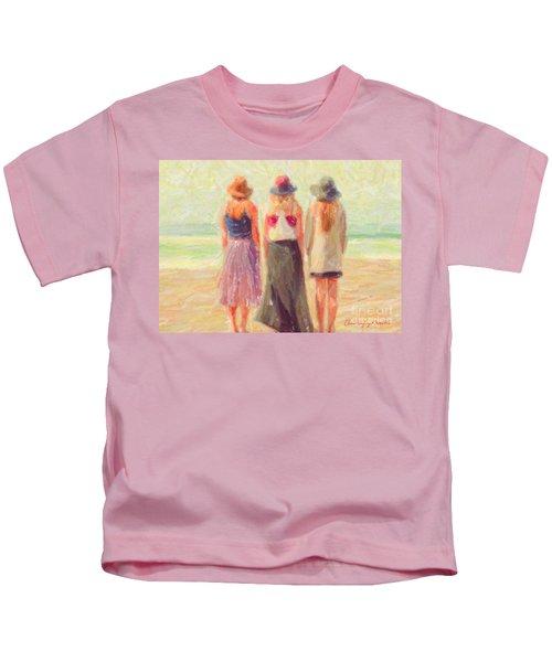 Girlfriends At The Beach Kids T-Shirt