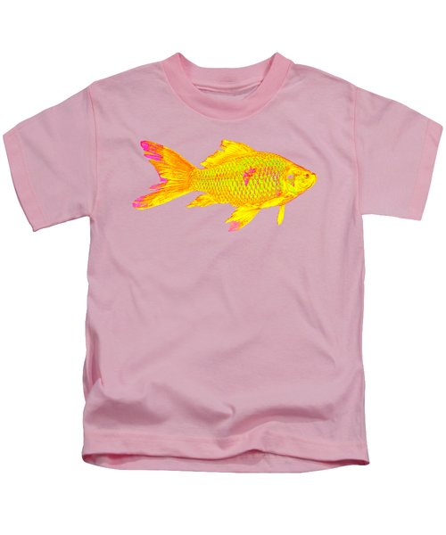 Gold Fish On Striped Background Kids T-Shirt