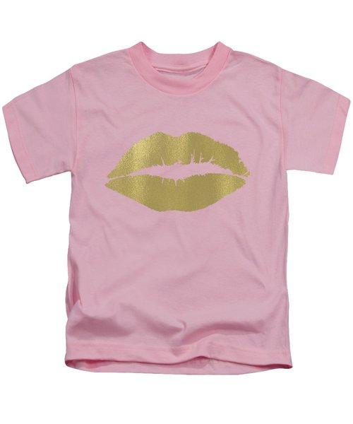 Gold Lips Kiss Kids T-Shirt