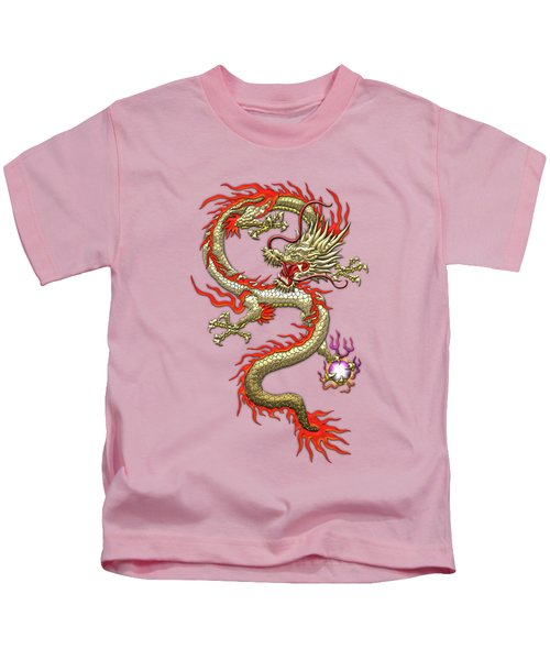 Golden Chinese Dragon Fucanglong On Rice Paper  Kids T-Shirt