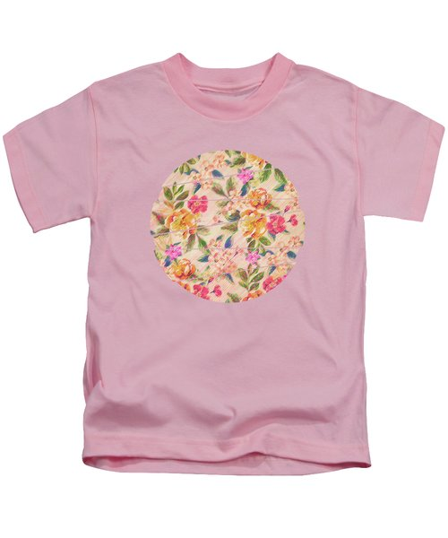 Golden Flitch Digital Vintage Retro  Glitched Pastel Flowers  Floral Design Pattern Kids T-Shirt