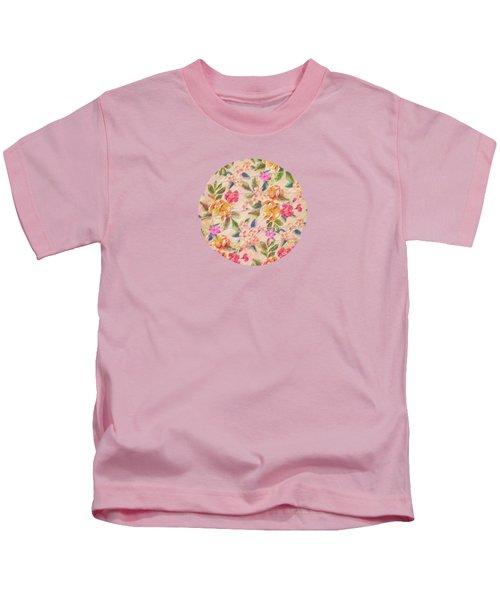 Golden Flitch Digital Vintage Retro  Glitched Pastel Flowers  Floral Design Pattern Kids T-Shirt