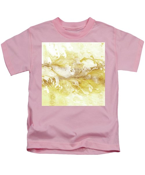 Golden Marble II Gold And White Abstract Art Kids T-Shirt