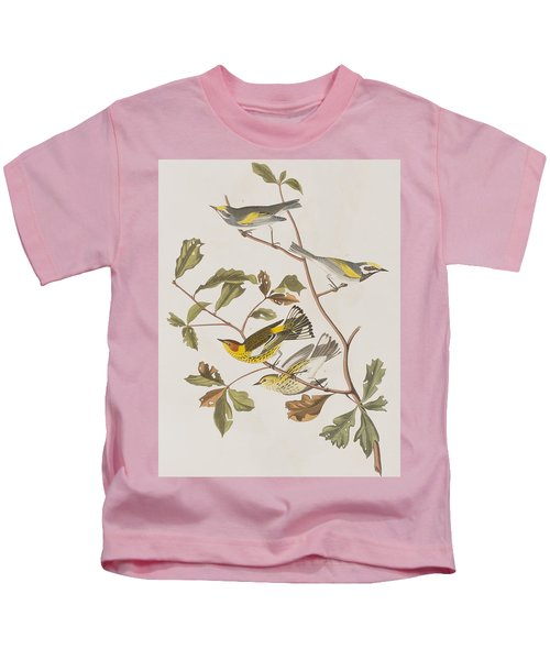 Golden Winged Warbler Or Cape May Warbler Kids T-Shirt by John James Audubon