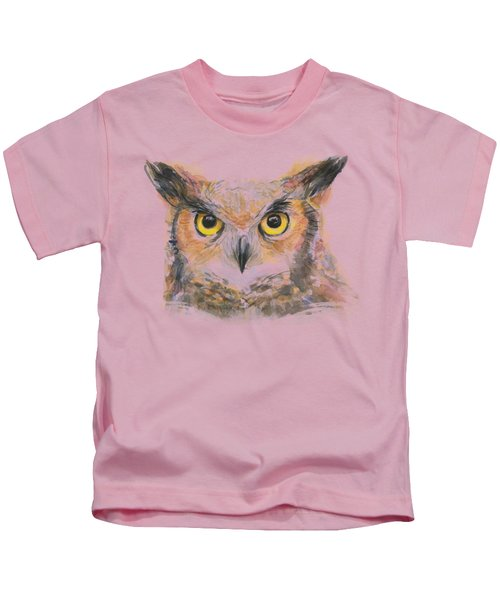 Great Horned Owl Watercolor Kids T-Shirt by Olga Shvartsur