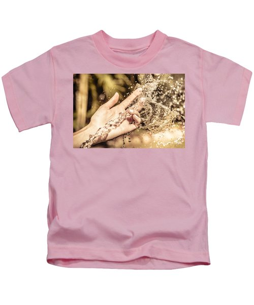 Hand Of A Woman Catching Water Stream Kids T-Shirt
