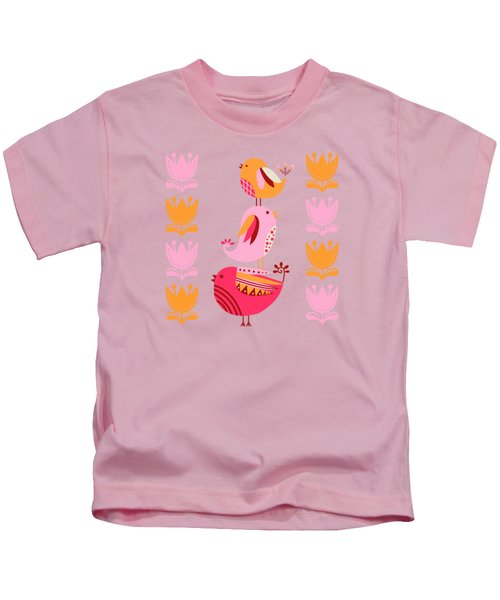 Happy Pink And Orange Birds And Blooms Kids T-Shirt