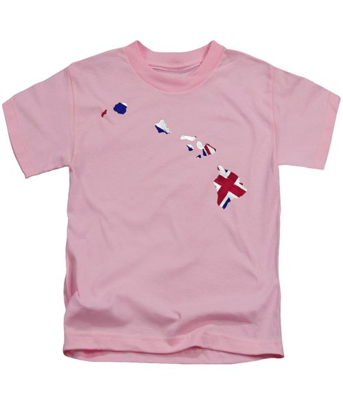 Hawaii Map Art With Flag Design Kids T-Shirt