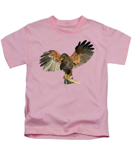 Hawk Flapping Wings Watercolor Painting Kids T-Shirt