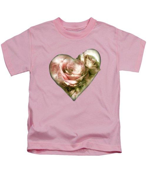 Heart Of A Rose - Antique Pink Kids T-Shirt