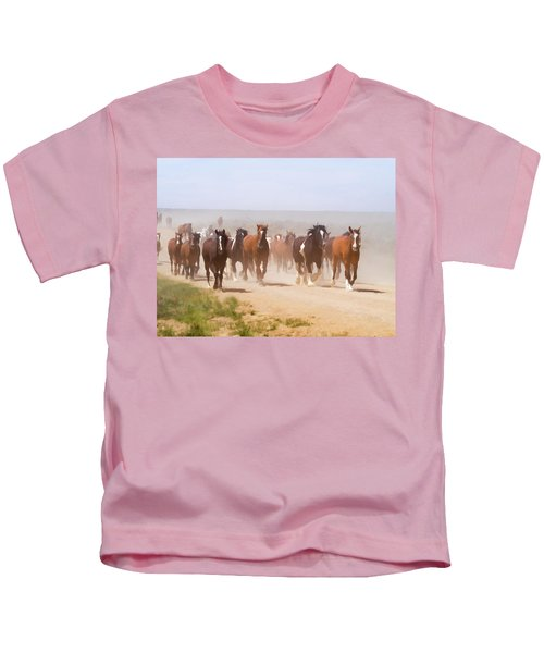 Herd Of Horses During The Great American Horse Drive On A Dusty Road Kids T-Shirt