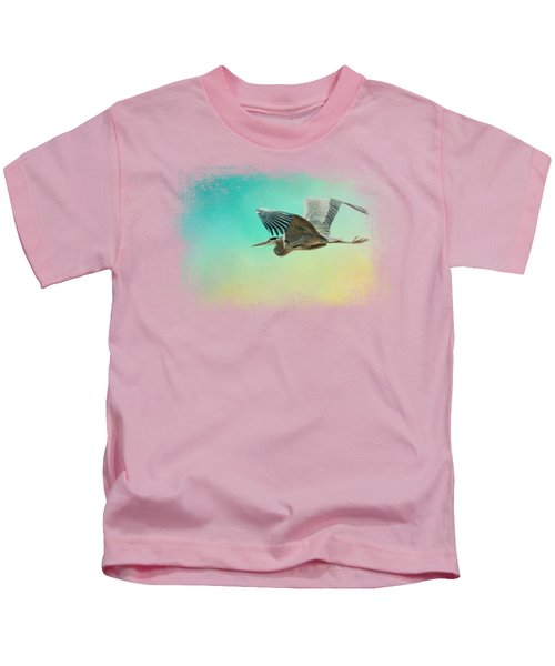 Heron At Sea Kids T-Shirt by Jai Johnson