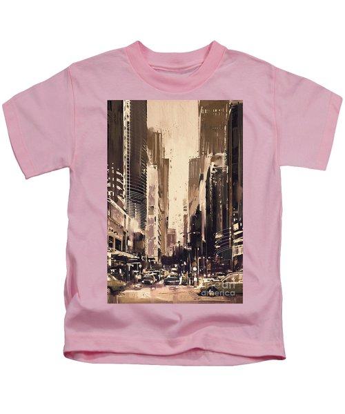 Hong-kong Cityscape Painting Kids T-Shirt