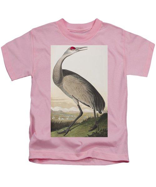 Hooping Crane Kids T-Shirt by John James Audubon