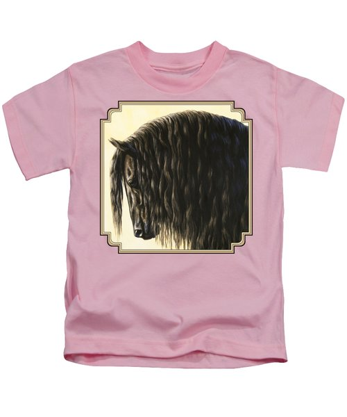 Horse Painting - Friesland Nobility Kids T-Shirt by Crista Forest