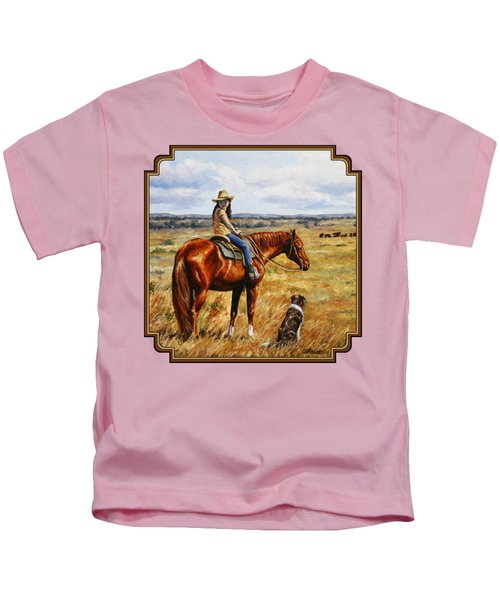 Horse Painting - Waiting For Dad Kids T-Shirt by Crista Forest