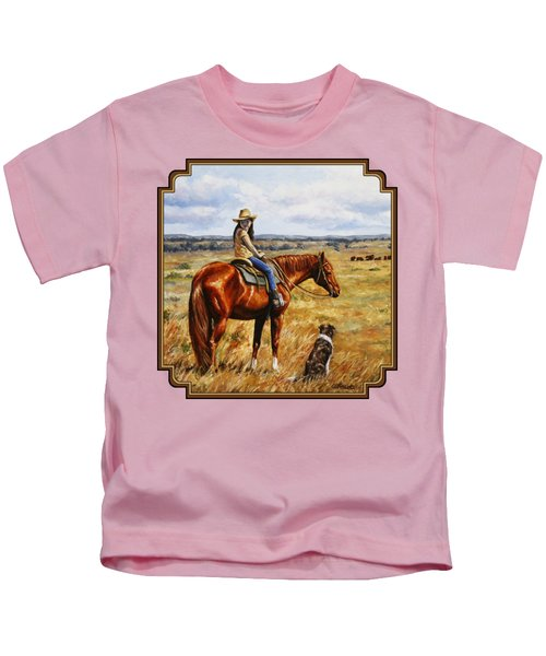 Horse Painting - Waiting For Dad Kids T-Shirt