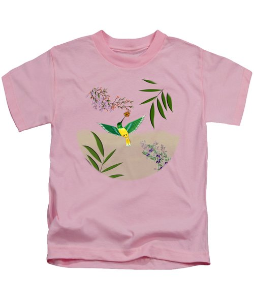 Humming Bird - Circle/clear Background Kids T-Shirt