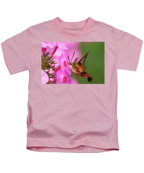 Hummingbird Moth Feeding 1 Kids T-Shirt