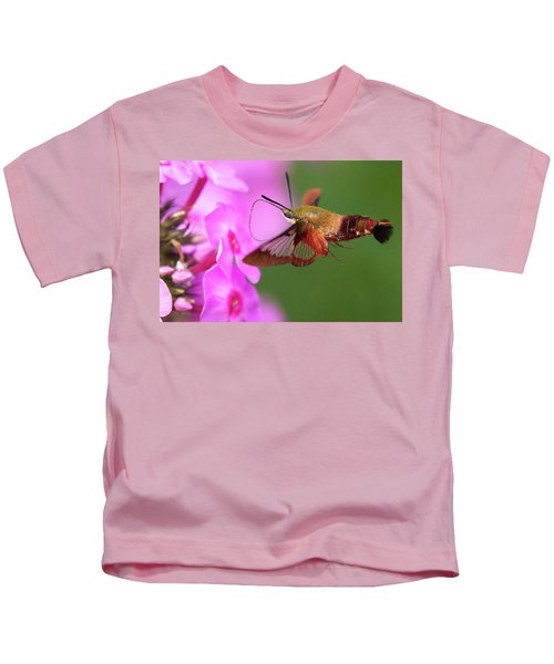 Hummingbird Moth Feeding 2 Kids T-Shirt