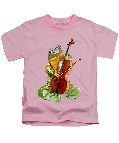 Humorous Scene Frog Playing Cello In Lily Pond Kids T-Shirt
