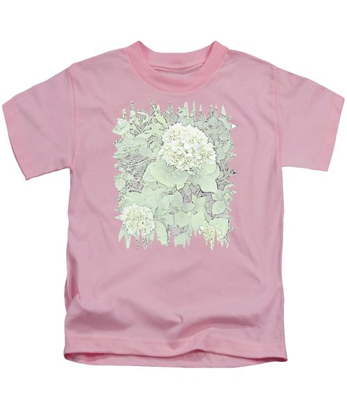 Hydrangea Pencil Sketch With Jagged Edge  Kids T-Shirt