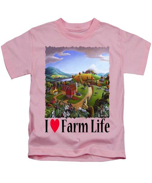 I Love Farm Life - Appalachian Blackberry Patch - Rural Farm Landscape Kids T-Shirt