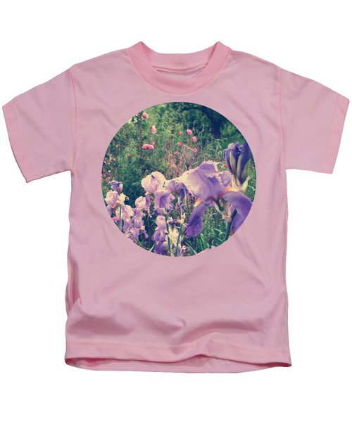 Irises And Roses In The Garden Kids T-Shirt