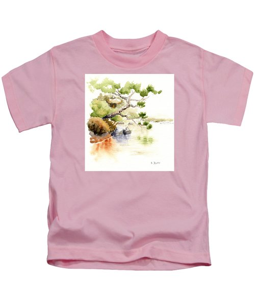 Japanese Garden Pond Sketch Kids T-Shirt