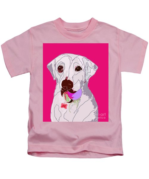 Jax With Ball In Pink Kids T-Shirt